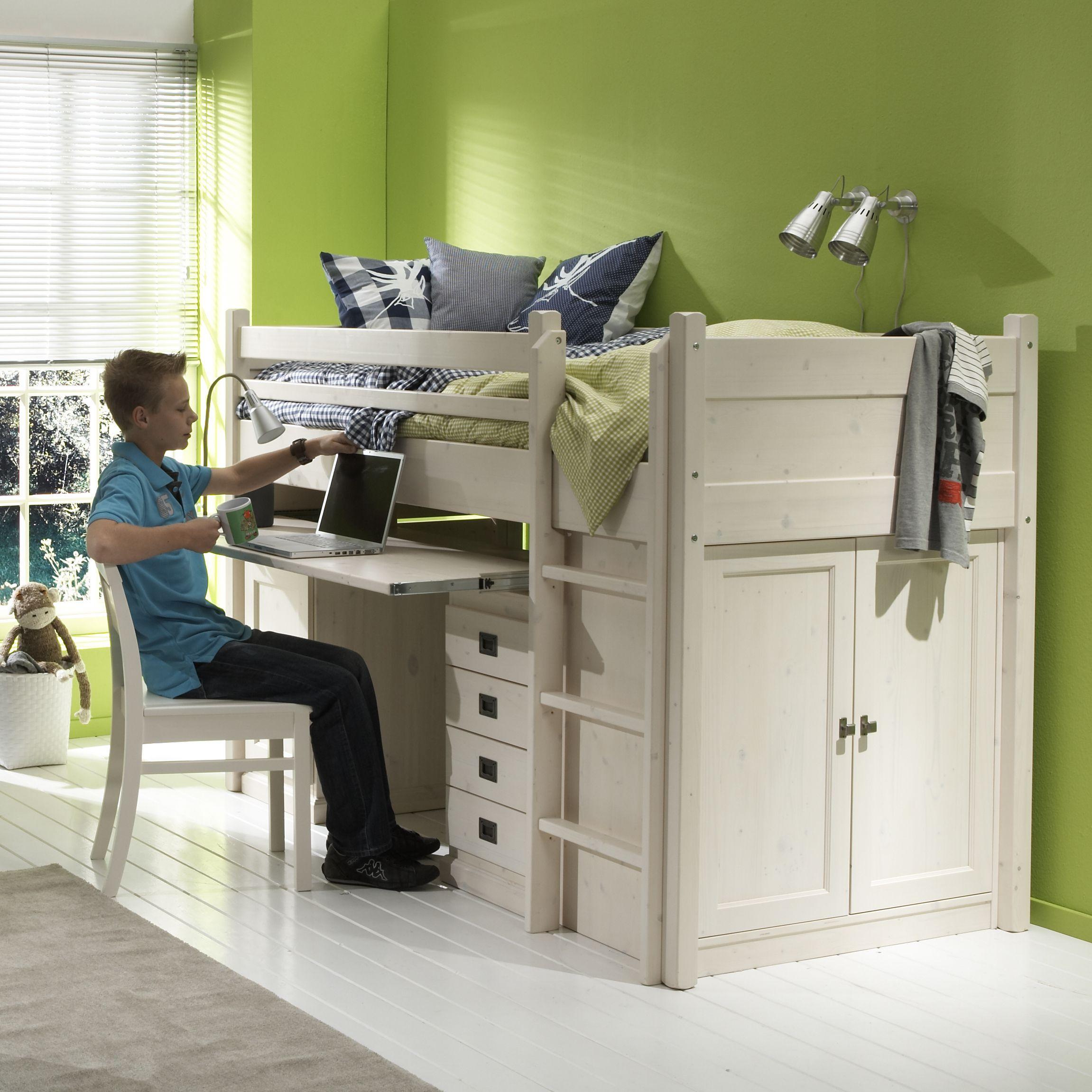 Alta halfhoogslaper vast met bureau alta furniture - Hoogslaper tiener met kantoor en opslag ...