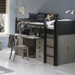 Alta Semi-raised bed with desktop and cupboard below,