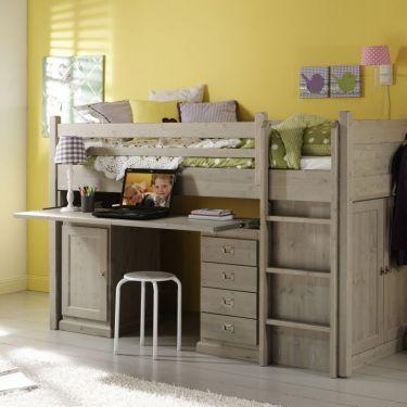 Alta Halb-hochbett mit Schreibtisch und Schrank unten, fest
