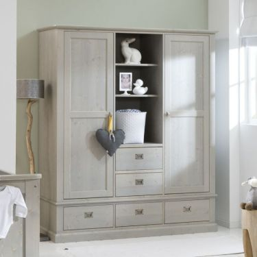Alta Kleiderschrank, 2 Türen, 5 Schubladen und offenes Fach