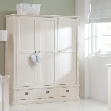 Kledingkast ALTA, 3 deuren en 3 laden, White wash