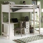 Hoogslaper ALTA met bureau, deelbaar, White wash