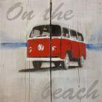 Steigerhouten paneel 60x60 cm, VW bus rood