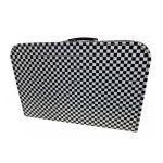 Kinderkoffer zwart wit geblokt, 45 cm
