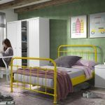 Metalen bed New York, geel, 120x200 cm
