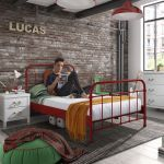 Metalen bed New York, rood, 120x200 cm