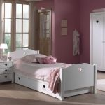 Bed Amori met matraslade, wit