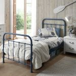 Metalen bed New York, blauw, 90x200 cm