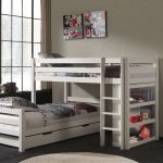 Hoekstapelbed Pino met boekenkast en laden, wit