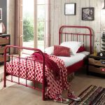 Metalen bed New York, rood, 90x200 cm