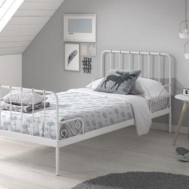 Metalen bed Alice, wit, 90x200 cm