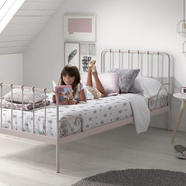 Metalen bed Alice, roze, 90x200 cm