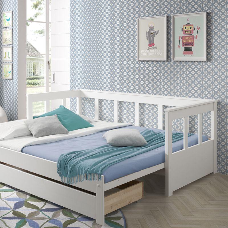 Bedbank Pino uitschuifbaar met lade, wit