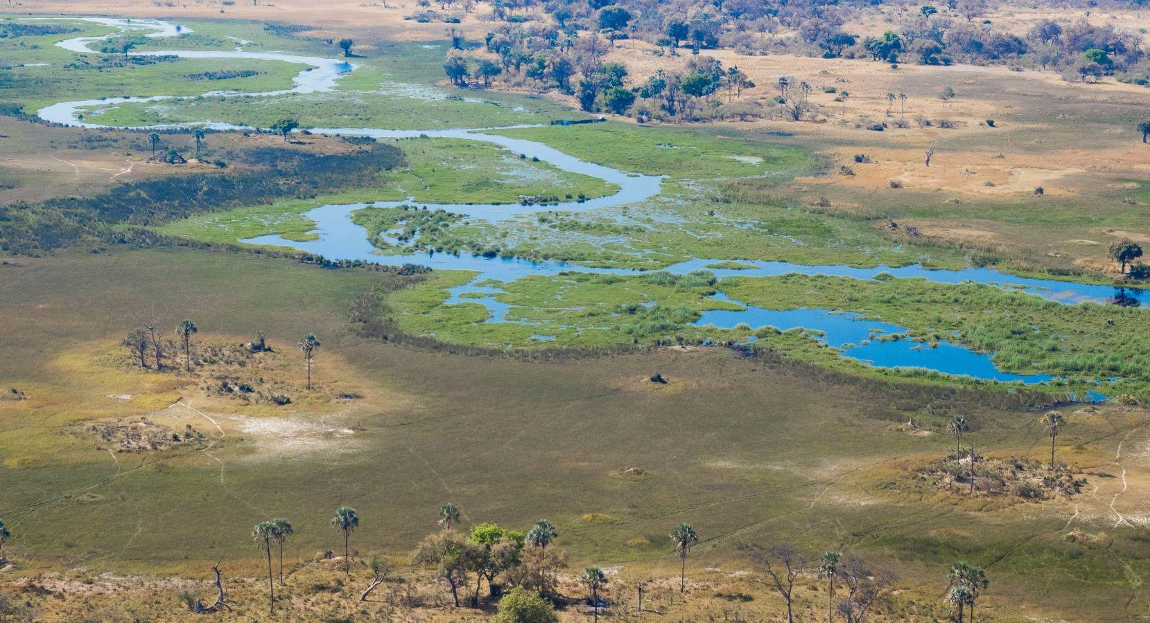 Okavango Delta - waterwegen vanuit de lucht