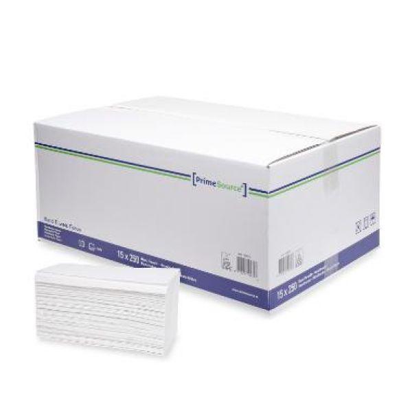 Handdoek z/z vouw wit 2 laags 250x230mm
