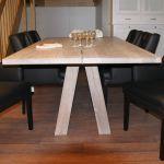 Eiken eettafel BKS Share, 110x220 cm, Smoked grey