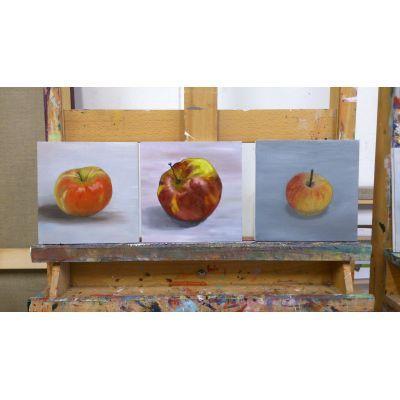 De resultaten van de workshop nat in nat schilderen met olieverf op een rijtje.
