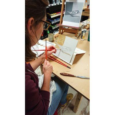 Je leert je schilderij op te bouwen volgens de laag over laag methode. Cursus realistisch fijnschilderen schilderen voor beginners.