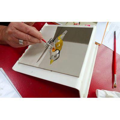 De monochrome onderschildering wordt gevolgd door een overschildering in kleur. Cursus realistisch fijnschilderen schilderen voor beginners