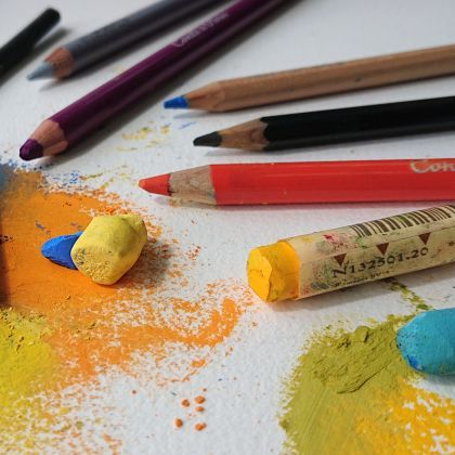 Potloden en pastels