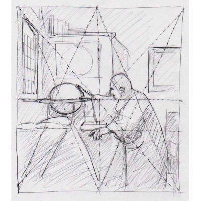 Tijdens de cursus kijken we ook terug in de geschiedenis hoe de oude meesters, zoals in dit geval Johannes Vermeer, hun compositie opbouwen. Cursus compositieleer bij Ombers & Okers.