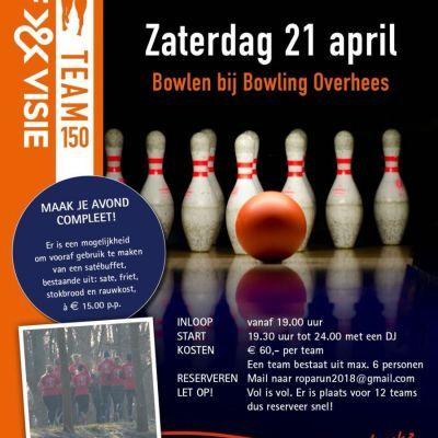 Roparun gaat bowlen bij Bowling Overhees