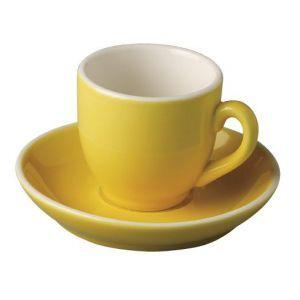 Koffiekop & schotel 14 cl. geel