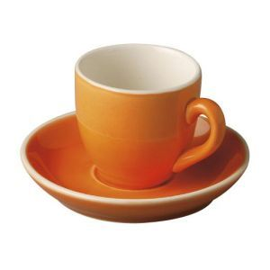 Koffiekop & schotel 14 cl. oranje