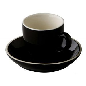 Koffiekop & schotel 14 cl. zwart