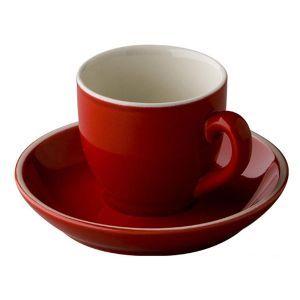 Koffiekop & schotel 14 cl. rood