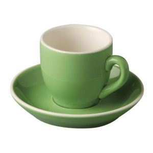 Koffiekop & schotel 14 cl. groen