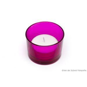 Glas paars met waxinekaars