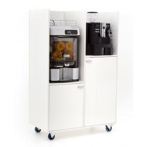 Presentatiekast met espressomachine en sinaasappelpers