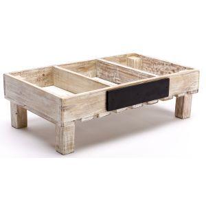 Bestek/fruit kratje hout 3-vaks 50x30x(h)15 cm.