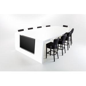 Conferentietafel incl. 9 krukken en beeldscherm