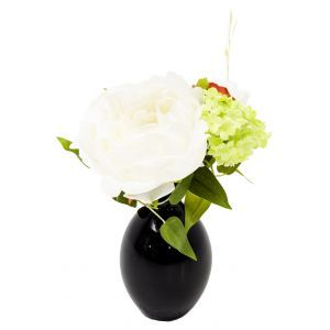 Vaasje incl. kunstbloemen hoogte 23 cm.