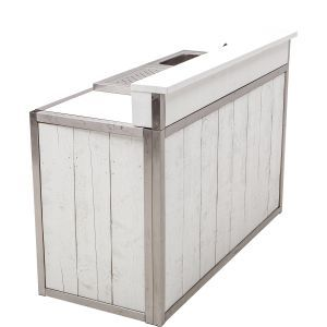 Bar Industrial white  171x73x(h)110 cm. (incl. spoelbak en lekblad)