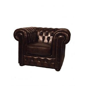 Fauteuil chesterfield donkerbruin