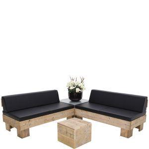 Loungeset Pure Wood zwart met rugleuning (incl. orchidee)