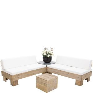 Loungeset Pure Wood wit met rugleuning (incl. orchidee)