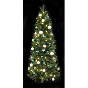 Kerstboom(h)213 cm. incl. verlichting blauw/witte ballen
