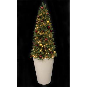 Kerstboom + pot wit (h)300 cm. incl. verl. goud/rode ballen
