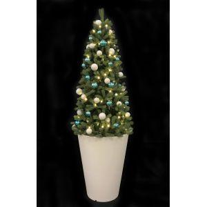 Kerstboom + pot wit (h)300 cm. incl. verl. blauw/wit ballen