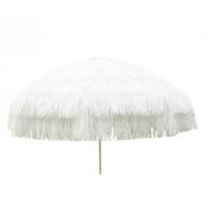 Parasol raffia (ø)1,8 mtr. wit (incl. voet)