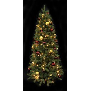 Kerstboom(h)213 cm. incl. verlichting goud/rode ballen