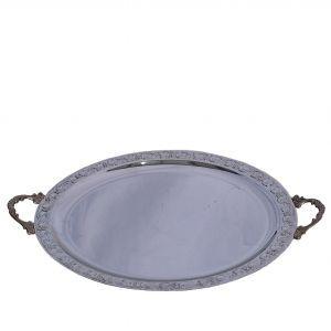 Serveerplateau rvs met grepen (Ø) 34 cm.