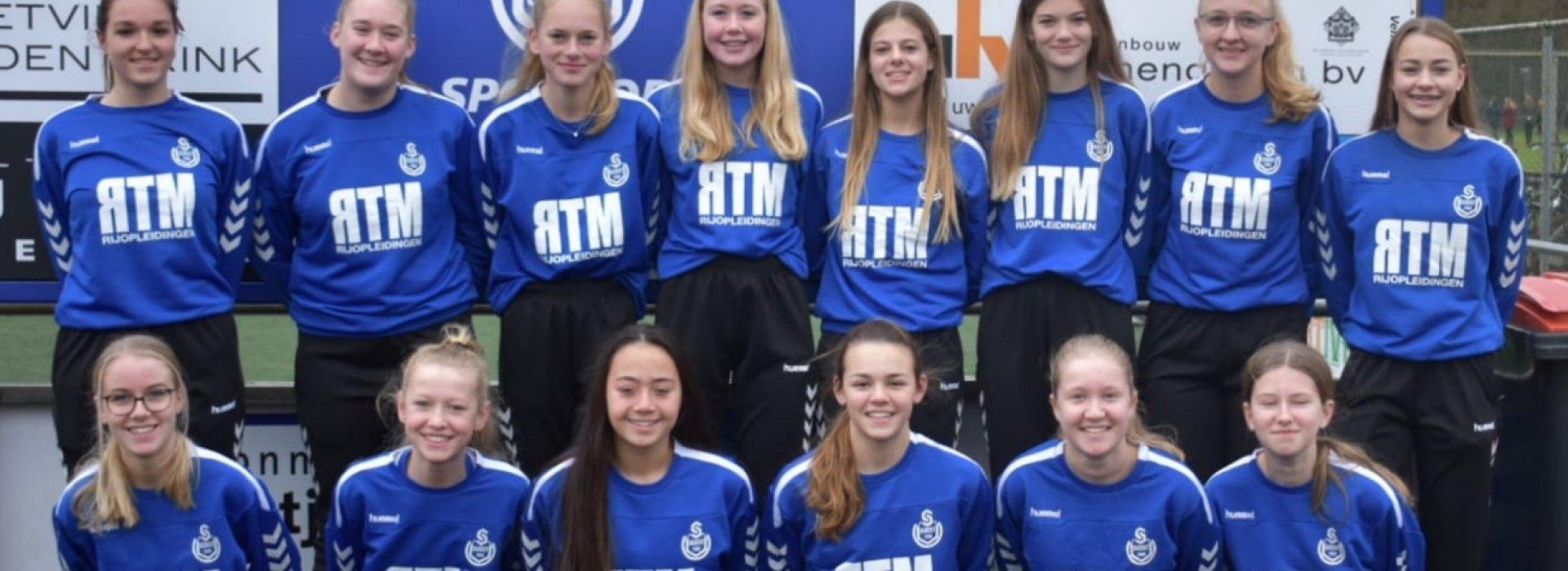 Najaarskampioen MO17-2 bedankt trouwe sponsor R.T.M. Rijopleidingen