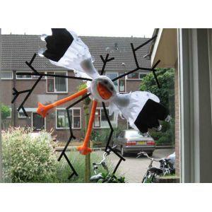 Ooievaar door raam, 120 cm