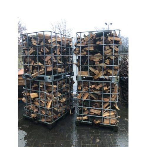 Openhaardhout Berken vers gekloofd per IBC 1,2 kuub