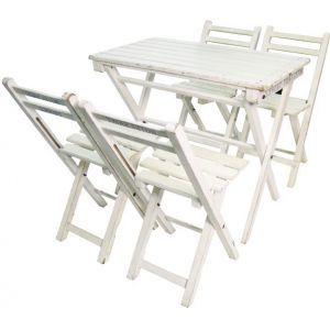 Bistro set wit (4 stoelen)